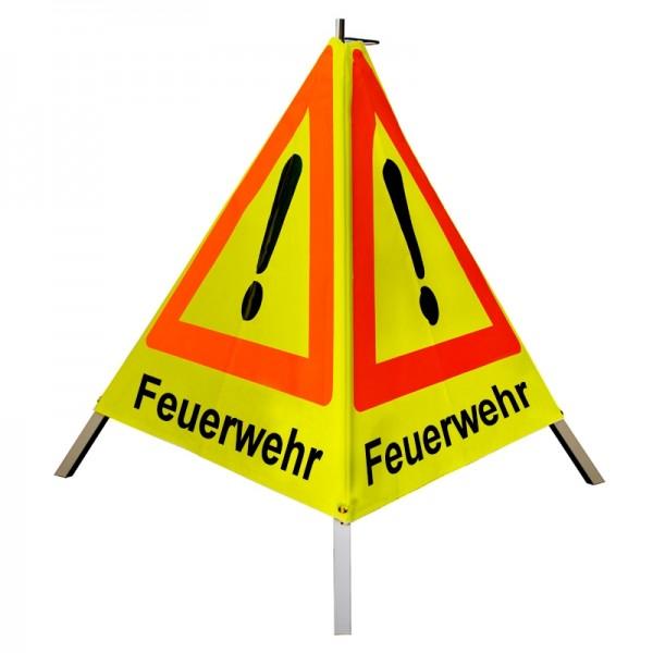"""Warnpyramide/ Faltsignal Achtung(VZ101) """"Feuerwehr"""" 90cm - gelb tagesleuchtend"""