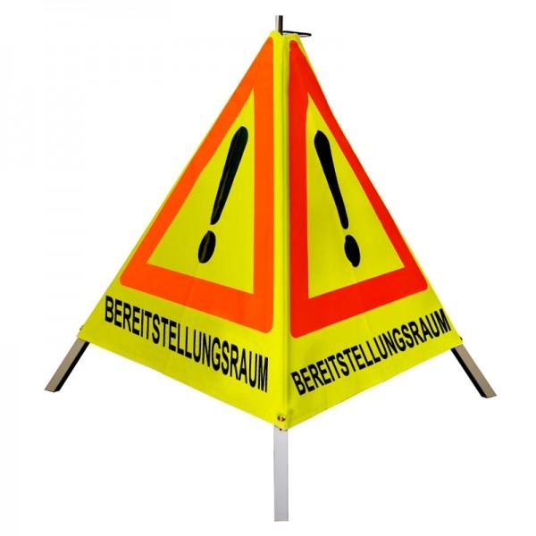 """Warnpyramide/ Faltsignal Achtung(VZ101) """"BEREITSTELLUNGSRAUM"""" 90cm - gelb tagesleuchtend"""