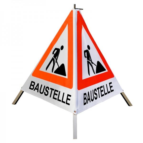 """Warnpyramide/ Faltsignal Schaufelmann(VZ123) """"BAUSTELLE"""" 70cm - weiß tagesleuchtend"""