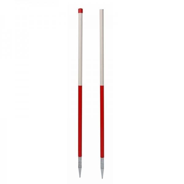 Stahlrohr-Fluchtstab - zerlegbar, mit 2 Spitzen, PVC Mantel - leuchtrot/weiß