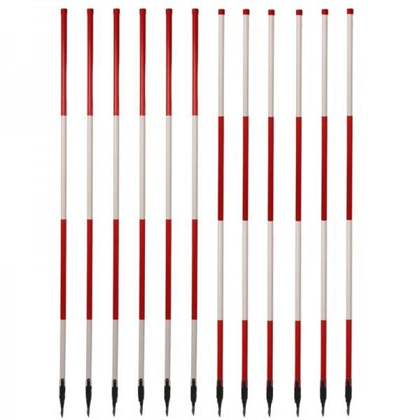 Holz-Fluchtstäbe - leicht - mit Dreilaschenspitze 3-kant (12 Stück) - rot/weiß oder weiß/rot