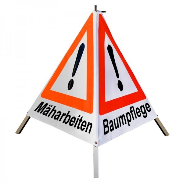 """Warnpyramide/ Faltsignal Achtung(VZ101) """"Mäharbeiten/ Baumpflege/ Maschineneinsatz""""70cm-weiß tagesl."""