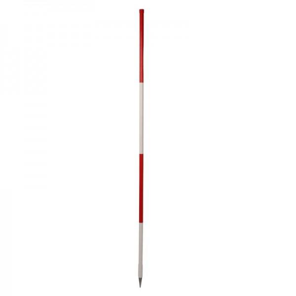 Stahlrohrfluchtstab 2,00 m, Bauqualität, PVC-ummantelt, rot/weiß - runde Stahlspitze