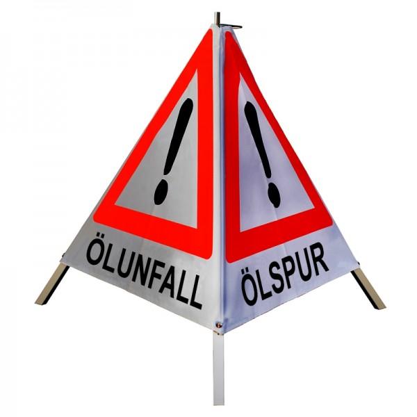 "Warnpyramide/ Faltsignal Achtung(VZ101) ""ÖLSPUR/ ÖLUNFALL/ UNFALL"" 70cm - retro-reflektierend"