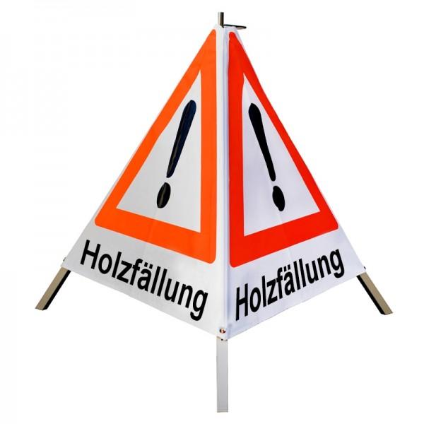"Warnpyramide/ Faltsignal Achtung(VZ101) ""Holzfällung"" 90cm - weiß tagesleuchtend"