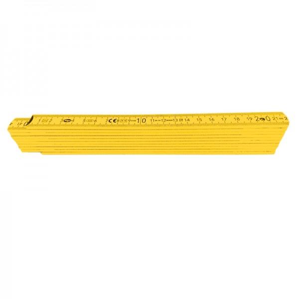 Holzgliedermaßstab 2 m (Zollstock), gelb, TOP-Qualität, innenliegende Federn