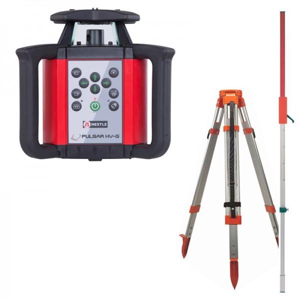 Nestle PULSAR HV-G horizontaler und vertikaler Rotationslaser im Spar-Set mit Stativ und Latte