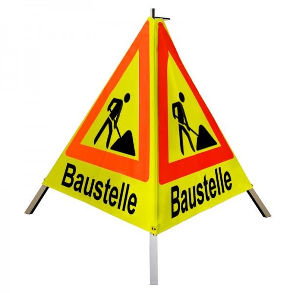 """Warnpyramide/ Faltsignal Schaufelmann(VZ123) """"Baustelle"""" 90cm - gelb tagesleuchtend"""