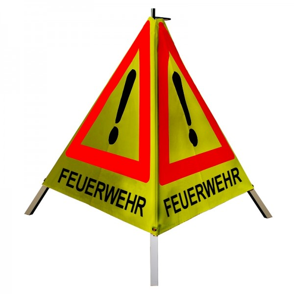 """Warnpyramide/ Faltsignal Achtung(VZ101) """"FEUERWEHR"""" 70cm - gelb retro-reflektierend"""