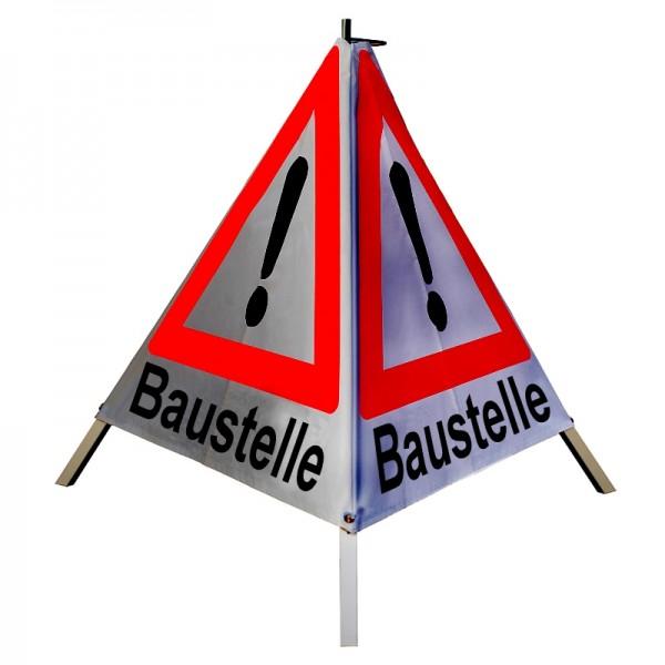 "Warnpyramide/ Faltsignal Achtung(VZ101) ""Baustelle"" 90cm - retro-reflektierend"