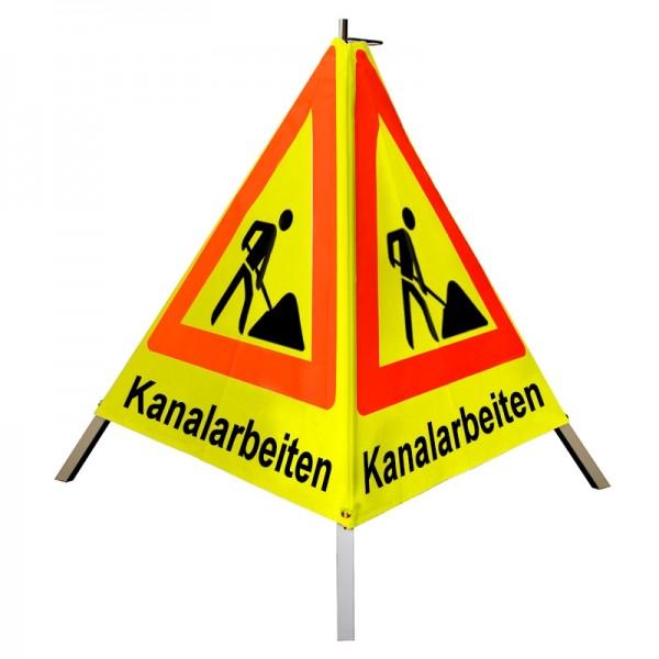 """Warnpyramide/ Faltsignal Schaufelmann(VZ123) """"Kanalarbeiten"""" 70cm - gelb tagesleuchtend"""