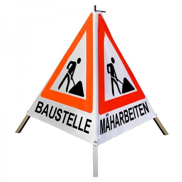 Warnpyramide 70 cm, leicht mit MIttelfuß, tagesleuch. weiß, BAUSTELLE-MÄHARBEITEN-BAUMPFLEGE (VZ123)