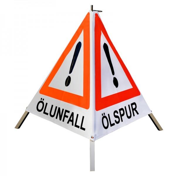 "Warnpyramide/ Faltsignal Achtung(VZ101) ""ÖLSPUR/ ÖLUNFALL/ UNFALL"" 90cm - weiß tagesleuchtend"