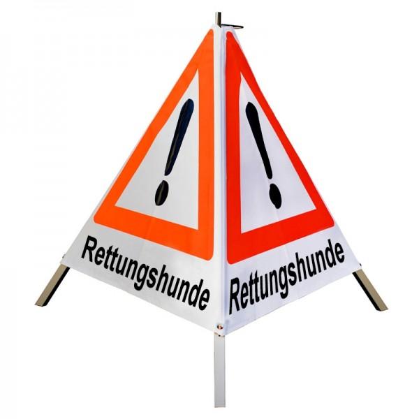 "Warnpyramide/ Faltsignal Achtung(VZ101) ""Rettungshunde"" 90cm - weiß tagesleuchtend"