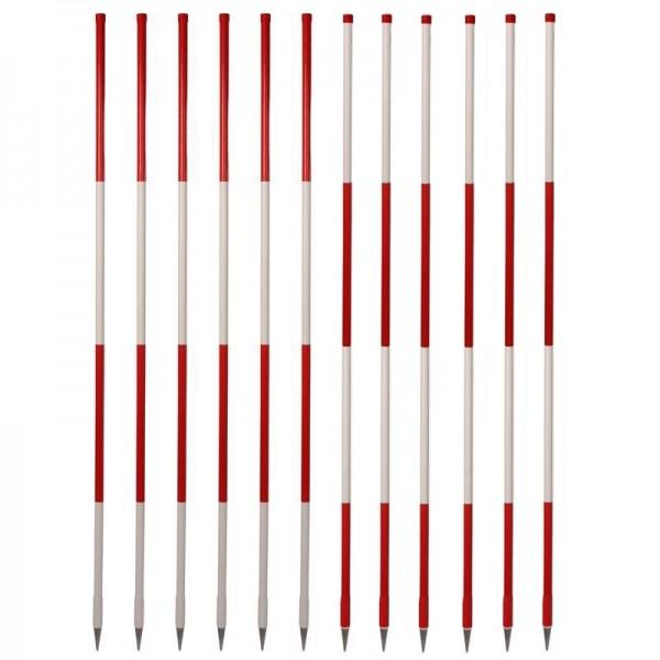 Stahlrohr-Fluchtstäbe - Bau-Qualität - 2.00 m (12 Stück) - Stahlspitze rund - rot/weiß und weiß/rot