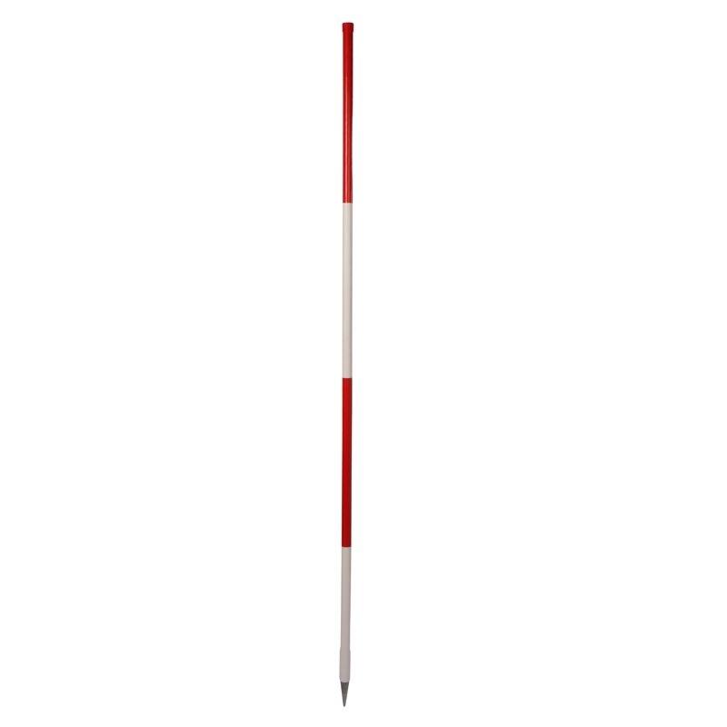 Holz-Fluchtstab - Bau-Qualität, leicht, 2m, runde Stahlspitze, PVC Mantelt)
