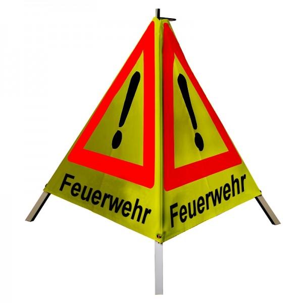 """Warnpyramide/ Faltsignal Achtung(VZ101) """"Feuerwehr"""" 90cm - gelb retro-reflektierend"""