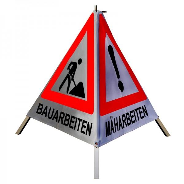 "Warnpyramide/ Faltsignal VZ101 & VZ123 ""MÄH-/ BAUM-/ BAUARBEITEN"" 90cm - retro-reflektierend"