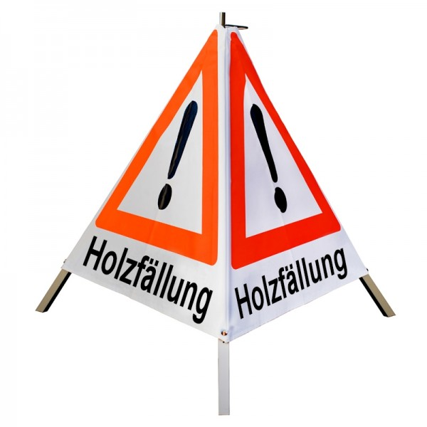 "Warnpyramide/ Faltsignal Achtung(VZ101) ""Holzfällung"" 70cm - weiß tagesleuchtend"