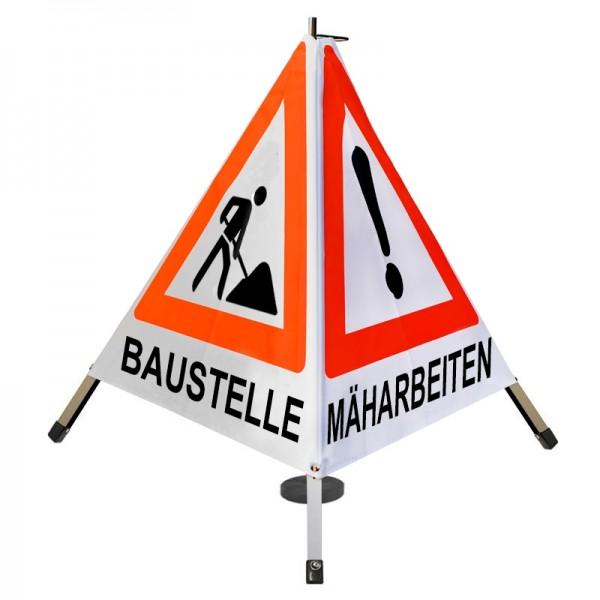 Warnpyramide/ Faltsignal BAUMFÄLLUNG MÄHARBEITEN(VZ101) BAUSTELLE(VZ123) - 70cm weiß Magnetfuß