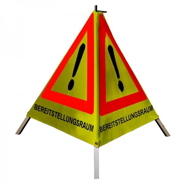 """Warnpyramide/ Faltsignal Achtung(VZ101) """"BEREITSTELLUNGSRAUM"""" 90cm - gelb retro-reflektierend"""