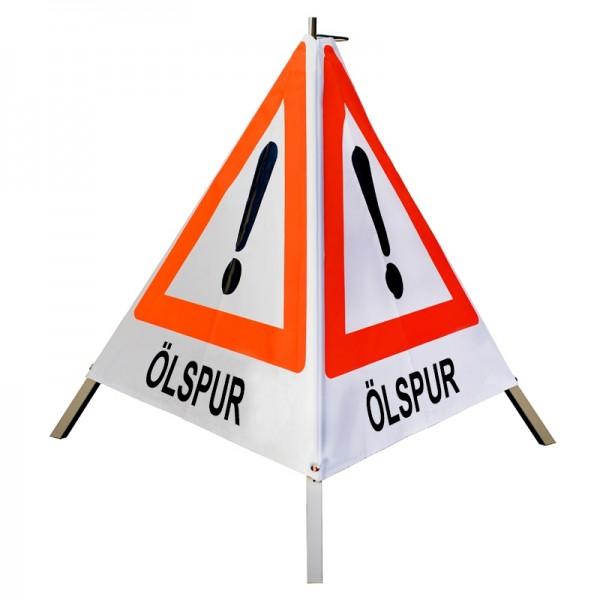 "Warnpyramide/ Faltsignal Achtung(VZ101) ""ÖLSPUR"" 70cm - weiß tagesleuchtend"