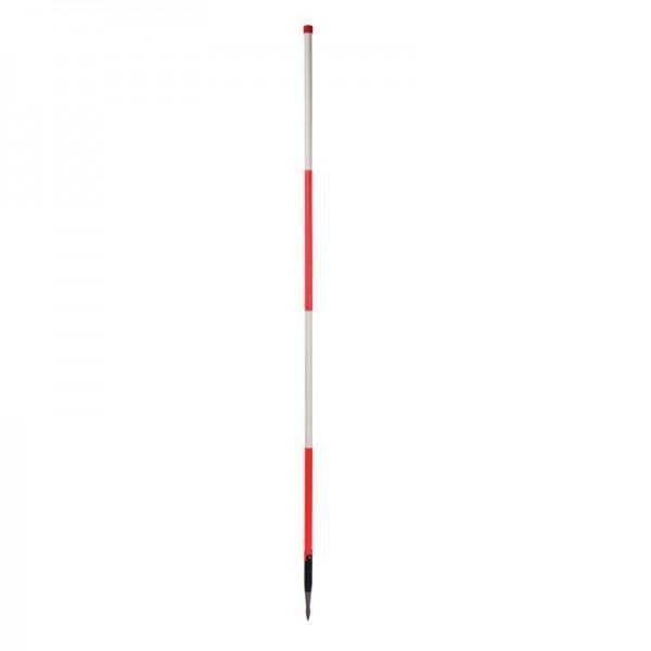 Holz-Fluchtstab - leuchtrot - mit Dreilaschenspitze 3-kant - rot/weiß oder weiß/rot