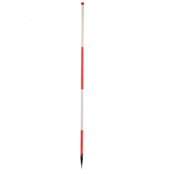 Holz-Fluchtstab - leuchtrot - mit Dreilaschenspitze rund - rot/weiß