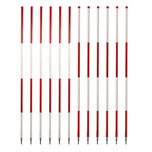Holz-Fluchtstäbe (Bau-Qualität) mit Dreikantrohrspitze (12 Stück) rot/weiß